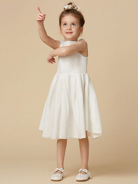 A-Line Knee Length Wedding / First Communion Flower Girl Dresses - Cotton Sleeveless Jewel Neck With Pearls_5