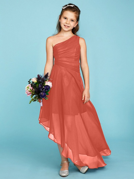 A-Line One Shoulder Asymmetrical Chiffon Junior Bridesmaid Dress With Side Draping / Wedding Party_31