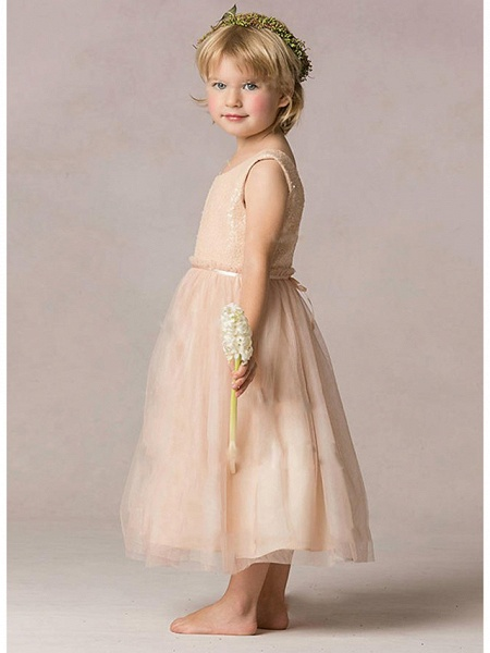 A-Line Ankle Length Wedding / Party Flower Girl Dresses - Tulle / Sequined Sleeveless Jewel Neck With Ruching_2