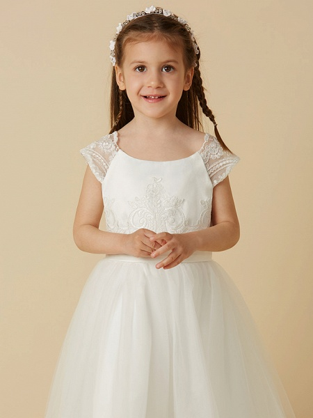 A-Line Floor Length Wedding / First Communion Flower Girl Dresses - Lace / Tulle Short Sleeve Scoop Neck With Sash / Ribbon / Buttons_4