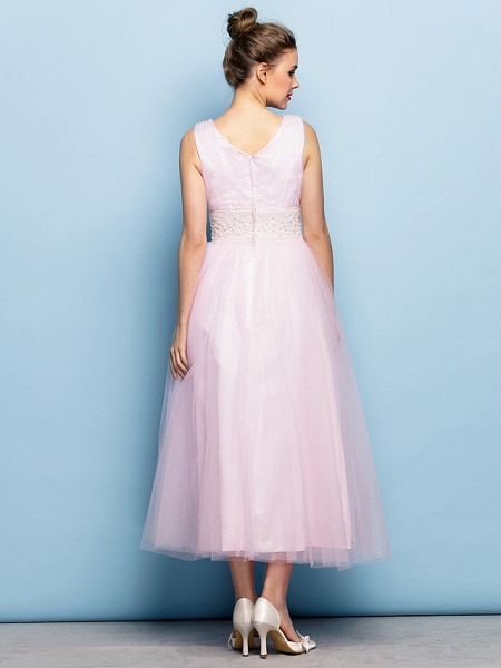Ball Gown Tea Length Party / Holiday / Cocktail Party Flower Girl Dresses - Tulle Sleeveless V Neck With Criss Cross / Pearls / Beading / Formal Evening / Mini Me_5