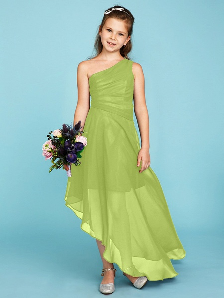 A-Line One Shoulder Asymmetrical Chiffon Junior Bridesmaid Dress With Side Draping / Wedding Party_40