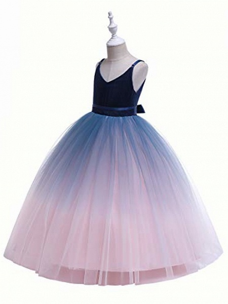 Girls Lace Bridesmaid Dress Long A Line Wedding Pageant Dresses Flower Girls Princess Ombre Tulle Party Gown Age 3-16Y &Amp; # 40; 3T - 4T, V-Navy Blue&Amp; Blush Pink&Amp;;_3