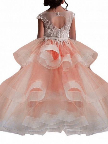 Princess Maxi Pageant Flower Girl Dresses - Polyester Sleeveless Jewel Neck With Bow(S) / Embroidery_9