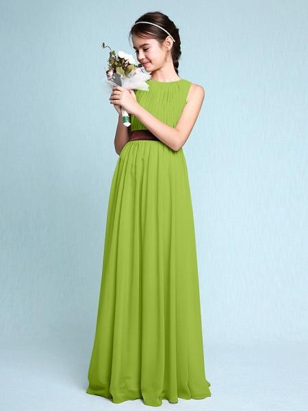 Sheath / Column Scoop Neck Floor Length Chiffon Junior Bridesmaid Dress With Draping / Natural_29