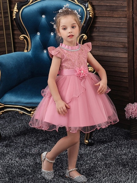 Princess / Ball Gown Knee Length Wedding / Party Flower Girl Dresses - Tulle Cap Sleeve Jewel Neck With Sash / Ribbon / Embroidery / Flower_3