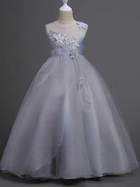 Princess Long Length Wedding / First Communion Satin / Tulle Sleeveless Jewel Neck With Belt / Appliques_9