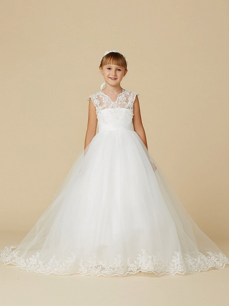 Princess Court Train Wedding / First Communion Flower Girl Dresses - Lace / Tulle Sleeveless V Neck With Sash / Ribbon / Appliques_3