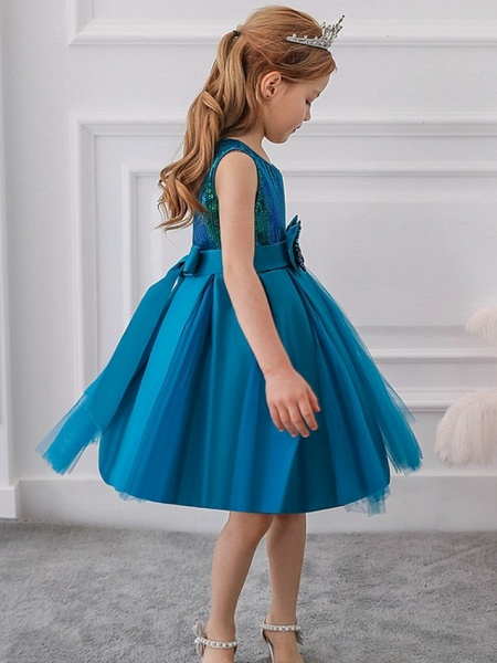 Princess / Ball Gown Knee Length Wedding / Party Flower Girl Dresses - Tulle Sleeveless Jewel Neck With Sash / Ribbon / Bow(S) / Paillette_7