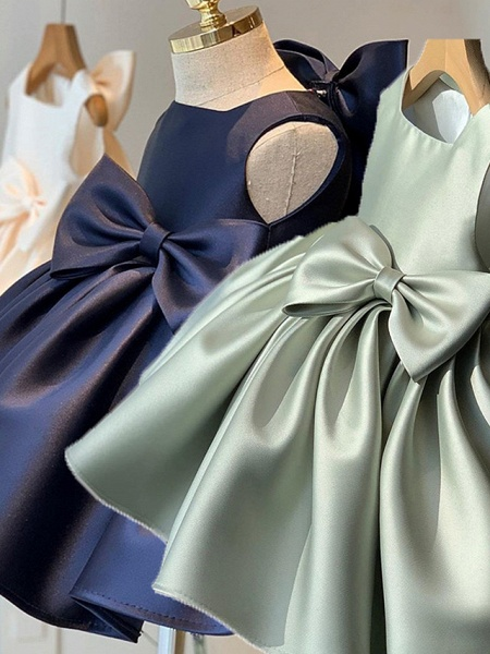 Princess / Ball Gown Short / Mini Wedding / Party Flower Girl Dresses - Satin Sleeveless Square Neck With Bow(S) / Pleats_4