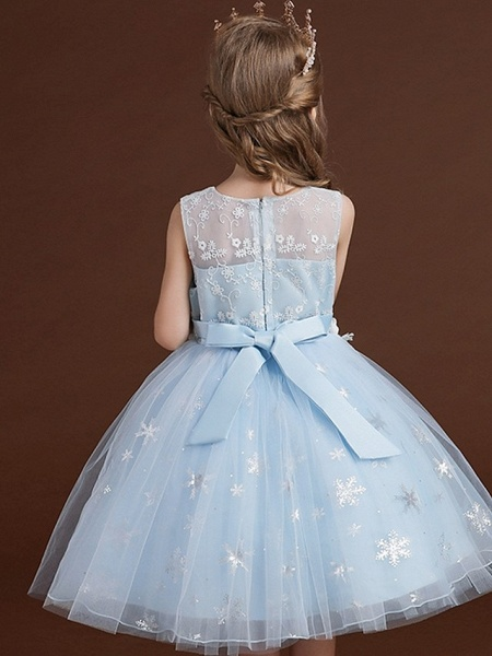 Princess / Ball Gown Knee Length Wedding / Party Flower Girl Dresses - Lace / Tulle Sleeveless Jewel Neck With Bow(S) / Appliques_8