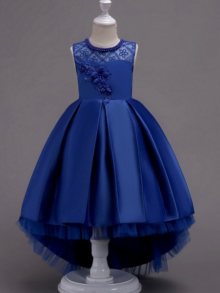 A-Line Asymmetrical Pageant Flower Girl Dresses - Satin Sleeveless Jewel Neck With Lace / Bow(S) / Beading_5