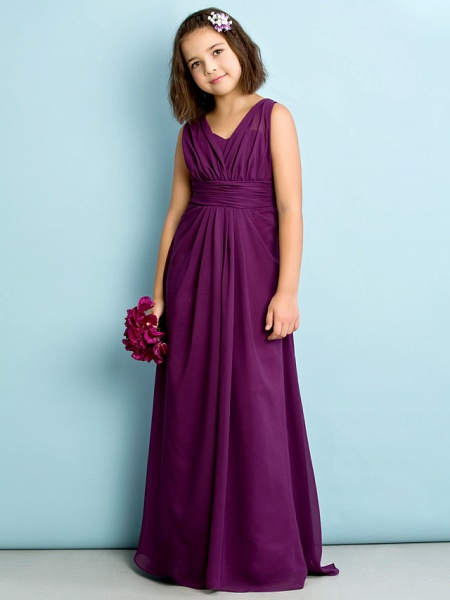 A-Line V Neck Floor Length Chiffon Junior Bridesmaid Dress With Criss Cross / Natural / Mini Me_2