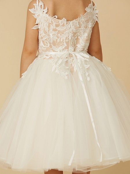 Princess Knee Length Wedding / First Communion Flower Girl Dresses - Lace / Tulle Sleeveless Spaghetti Strap With Crystal / Lace / Sashes / Ribbons_9