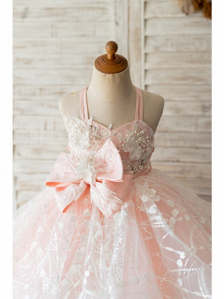 Ball Gown Knee Length Wedding / Birthday Flower Girl Dresses - Tulle Sleeveless Spaghetti Strap With Bow(S) / Pearls / Flower_3
