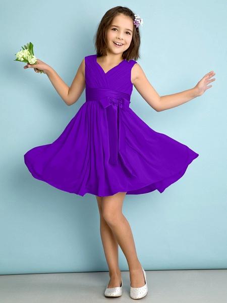 A-Line V Neck Knee Length Chiffon Junior Bridesmaid Dress With Bow(S) / Criss Cross / Natural_36