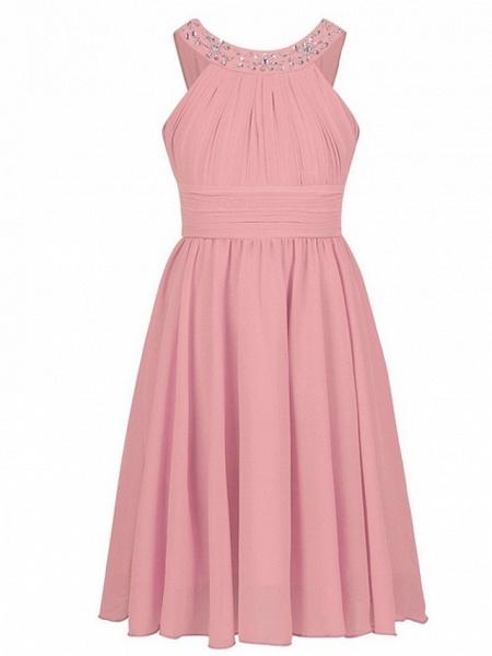 A-Line Round Tea Length Chiffon Junior Bridesmaid Dress With Beading / Ruching_2