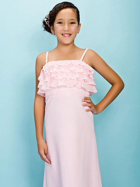 A-Line / Sheath / Column Spaghetti Strap Floor Length Chiffon Junior Bridesmaid Dress With Pleats / Ruffles / Spring / Fall / Winter / Apple / Hourglass_5