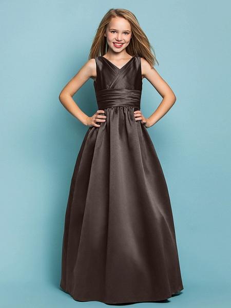 Princess / A-Line V Neck Floor Length Satin Junior Bridesmaid Dress With Sash / Ribbon / Criss Cross / Spring / Summer / Fall / Apple / Hourglass_23