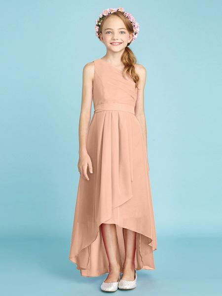 A-Line One Shoulder Asymmetrical Chiffon Junior Bridesmaid Dress With Sash / Ribbon / Bow(S) / Side Draping / Natural_15