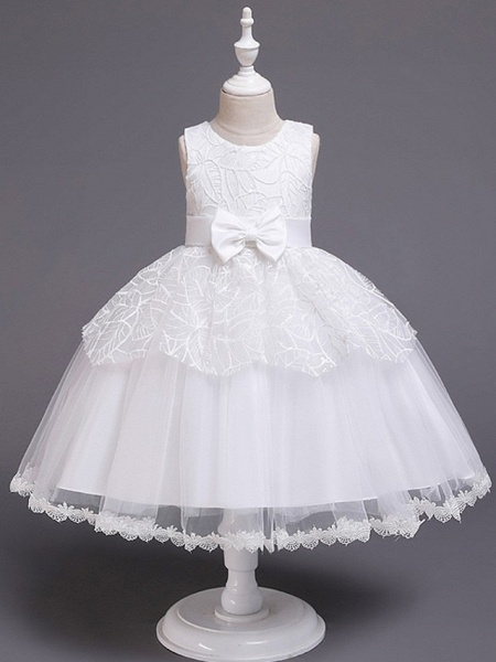 Princess / Ball Gown Knee Length Wedding / Party Flower Girl Dresses - Tulle Sleeveless Jewel Neck With Sash / Ribbon / Bow(S) / Paillette_1