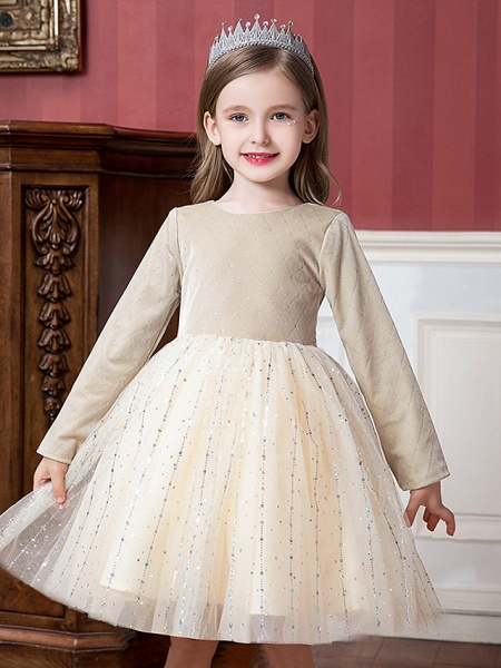 Princess / Ball Gown Knee Length Wedding / Party Flower Girl Dresses - Tulle / Velvet Long Sleeve Jewel Neck With Splicing / Paillette_2