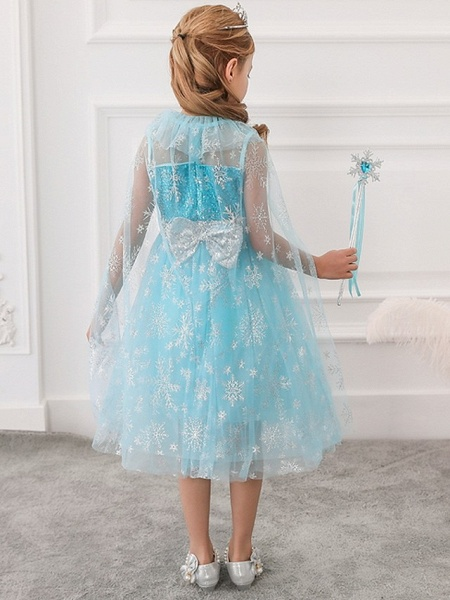 Princess / Ball Gown Tea Length Wedding / Party Flower Girl Dresses - Tulle Sleeveless Jewel Neck With Bow(S) / Paillette_3