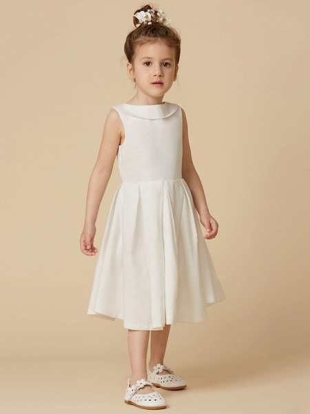 A-Line Knee Length Wedding / First Communion Flower Girl Dresses - Cotton Sleeveless Jewel Neck With Pearls_3