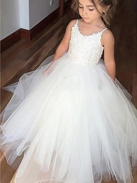 A-Line Floor Length Wedding / First Communion / Pageant Flower Girl Dresses - Satin / Tulle Sleeveless Jewel Neck With Appliques_2