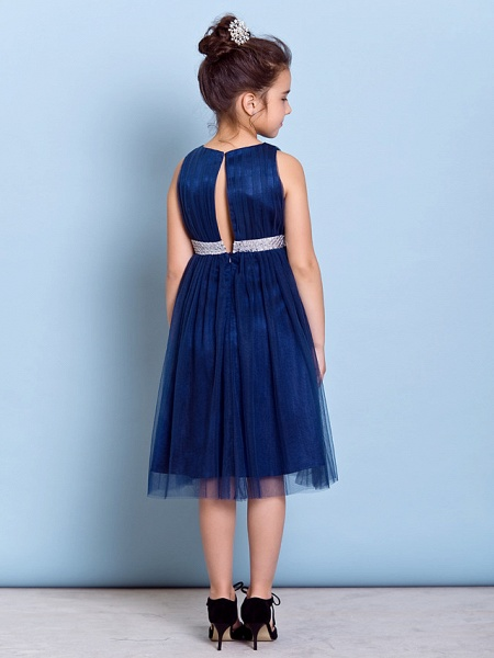A-Line Jewel Neck Knee Length Tulle Junior Bridesmaid Dress With Sash / Ribbon / Sequin / Draping / Natural_4