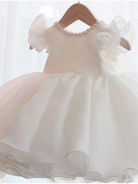 A-Line Short / Mini Party / Birthday Flower Girl Dresses - Poly Sleeveless Jewel Neck With Lace / Bow(S) / Tier_2