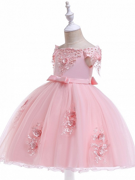 Princess Above Knee Wedding / Party / Pageant Flower Girl Dresses - Satin / Tulle Short Sleeve Off Shoulder With Lace / Beading / Appliques_5