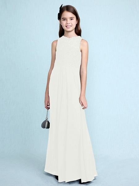 Sheath / Column Scoop Neck Floor Length Chiffon / Lace Junior Bridesmaid Dress With Lace / Natural_23