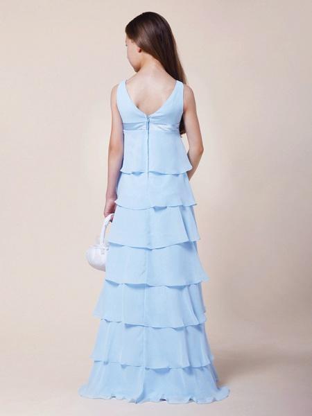 A-Line V Neck Floor Length Chiffon / Stretch Satin Junior Bridesmaid Dress With Bow(S) / Empire / Spring / Summer / Fall / Winter_6