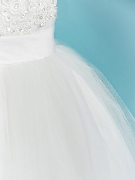 Ball Gown Crew Neck Floor Length Lace / Tulle Junior Bridesmaid Dress With Sash / Ribbon / Pleats / Beading_6