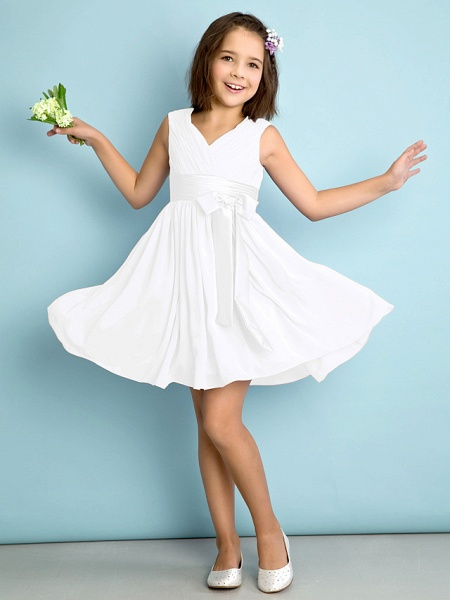 A-Line V Neck Knee Length Chiffon Junior Bridesmaid Dress With Bow(S) / Criss Cross / Natural_18