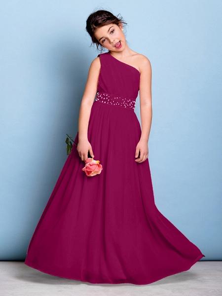 A-Line One Shoulder Floor Length Chiffon Junior Bridesmaid Dress With Sash / Ribbon / Beading / Side Draping / Natural_41