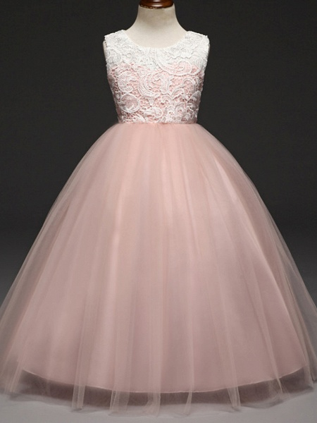 Ball Gown Floor Length Wedding / Party Flower Girl Dresses - Lace / Tulle Sleeveless Jewel Neck With Tiered_1