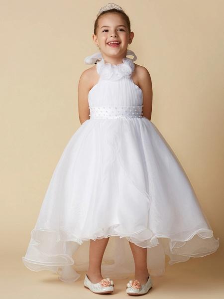 A-Line Asymmetrical Wedding / First Communion Flower Girl Dresses - Organza Sleeveless Halter Neck With Bow(S) / Pleats_4