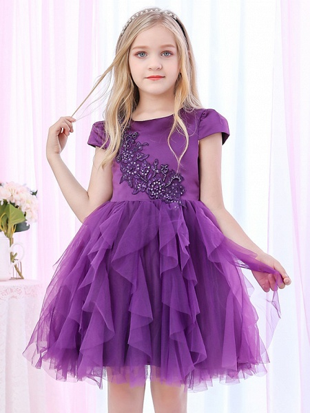 Princess / Ball Gown Royal Length Train / Medium Length Wedding / Event / Party Flower Girl Dresses - Satin / Tulle Cap Sleeve Jewel Neck With Beading / Appliques / Tiered_1