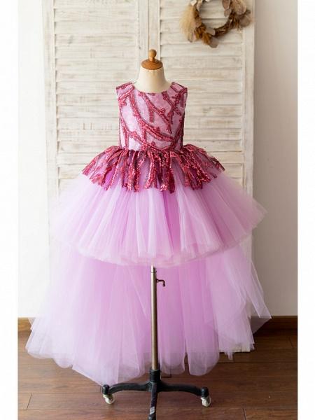 Ball Gown Asymmetrical Wedding / Birthday Flower Girl Dresses - Tulle Sleeveless Jewel Neck With Paillette_1