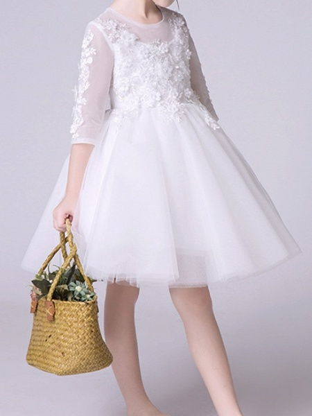 Princess Knee Length First Communion Flower Girl Dresses - Polyester Half Sleeve Jewel Neck With Appliques_2