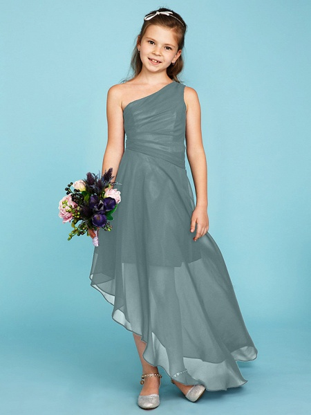A-Line One Shoulder Asymmetrical Chiffon Junior Bridesmaid Dress With Side Draping / Wedding Party_12