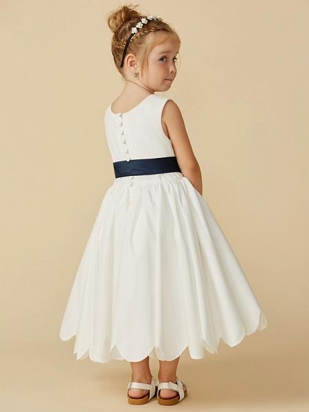 A-Line Tea Length Wedding / First Communion Flower Girl Dresses - Taffeta Sleeveless Jewel Neck With Sash / Ribbon / Pleats_2
