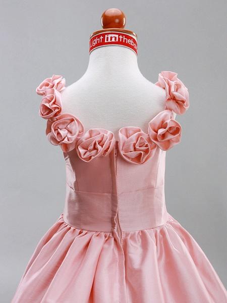 A-Line / Princess Floor Length Flower Girl Dress - Taffeta Sleeveless Scoop Neck With Draping / Flower By Lan Ting Bride? / Spring / Summer / Fall / Winter / Wedding Party_5