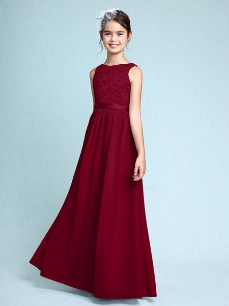 Sheath / Column Bateau Neck Floor Length Chiffon / Lace Junior Bridesmaid Dress With Lace / Natural_16
