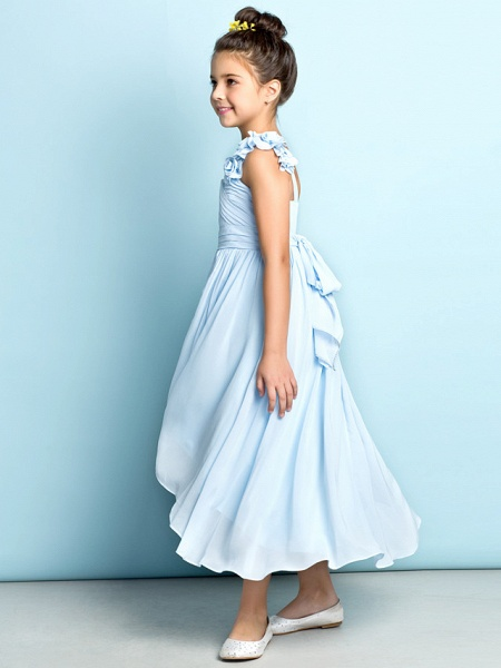 A-Line One Shoulder Asymmetrical Chiffon Junior Bridesmaid Dress With Criss Cross / Flower / Natural / Mini Me_3