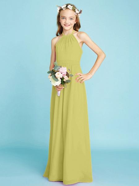 A-Line Halter Neck Floor Length Chiffon Junior Bridesmaid Dress With Sash / Ribbon / Natural_19