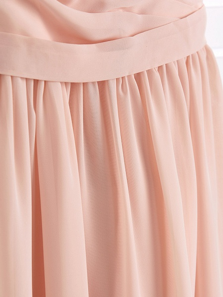 A-Line Jewel Neck Maxi Chiffon Junior Bridesmaid Dress With Ruffles / Ruching / Wedding Party_7