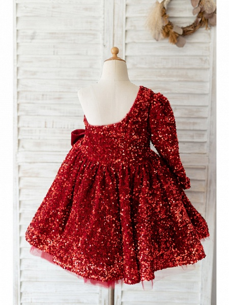 Ball Gown Knee Length Wedding / Birthday Flower Girl Dresses - Sequined Long Sleeve One Shoulder With Bow(S)_2
